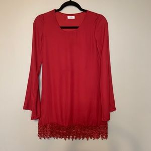 Toni Red Long Sleeve A line Dress Small Lace Party
